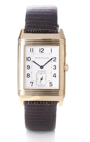 Jaeger Le Coultre. A fine 18ct rose gold manual wind dual sided reversible wristwatchReverso Duo-dial, Night and Day, Ref:270.2.54, Case No.1851981, Recent