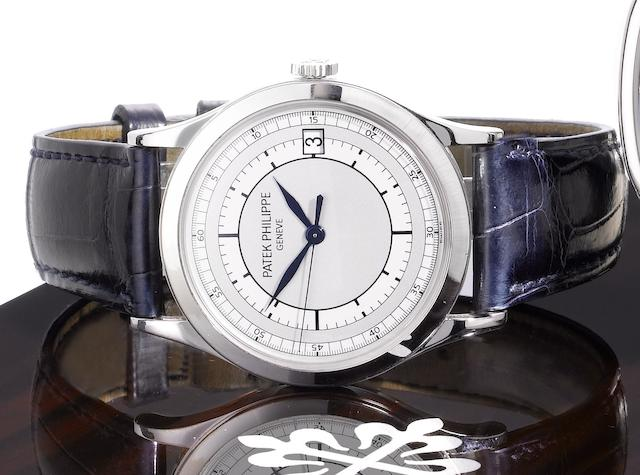 Patek Philippe. A fine 18ct white gold automatic centre seconds calendar wristwatch with box and Certificate of OriginCalatrava, Ref: 5296G-001, Sold 5th September 2005