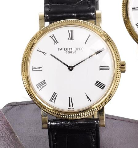 Patek Philippe. A fine 18ct gold automatic wristwatch together with Certificate of Origin Calatrava, Ref:5120J-001, Case No.4298406, Movement No.1207967, Sold 15th December 2005