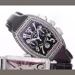 Franck Muller. A fine and very rare 18ct white gold and diamond set limited edition chronograph wristwatch with fitted box and papers and especially made for Theo Fennell 'Black Knight,' Case No.04/05, Sold at Harrods, 18th November, 2002