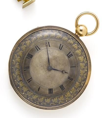 Swiss. A mid 19th century continental gold musical repeating pocket watchCirca 1850