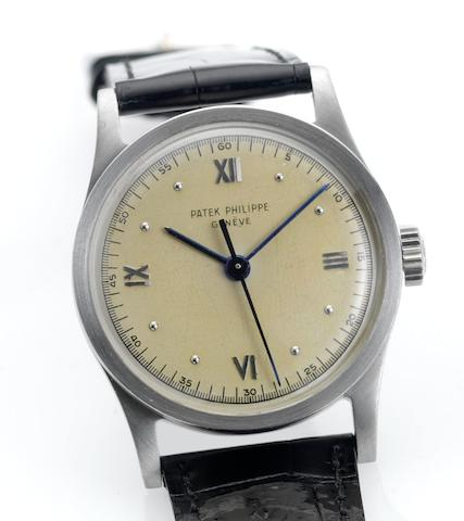 Patek Philippe. A fine and rare stainless steel wristwatch with indirect sweep centre seconds and Roman numeralsCalatrava, Ref:96, Case No.653825, Movement No.861724