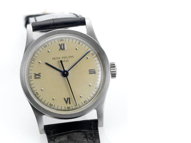 Patek Philippe. A fine and rare stainless steel wristwatch with indirect sweep centre seconds and Roman numerals Calatrava, Ref:96, Case No.653825, Movement No.861724