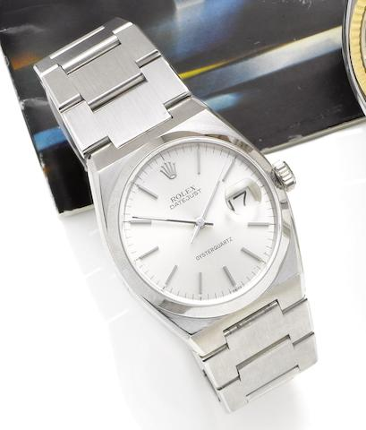 Rolex. A fine stainless steel quartz bracelet watch Ref:17000, Serial No:5369857, circa 1980