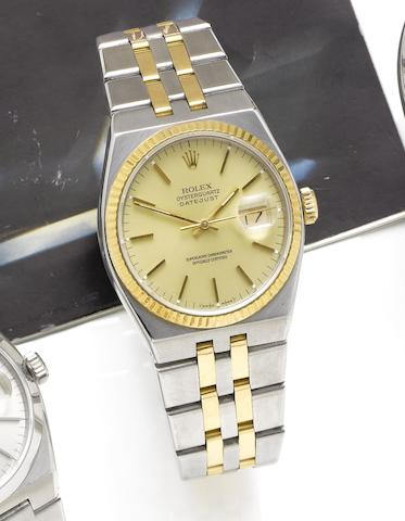 Rolex. A stainless steel and gold quartz calendar bracelet watch Ref: 17013, Serial No:R241535, circa 1988
