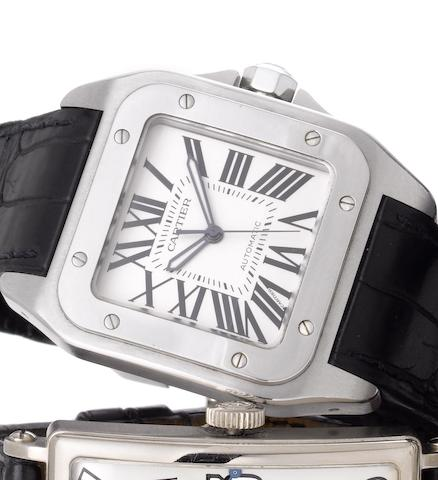 Cartier. A fine oversized stainless steel automatic wristwatchSantos 100, Sold 30th December 2004