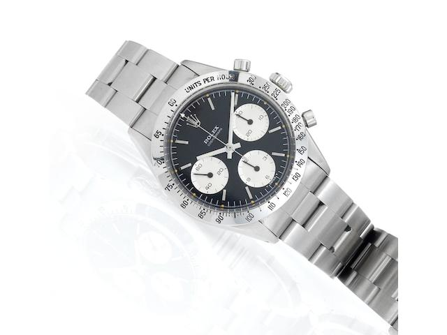 Rolex. A fine stainless steel manual wind chronograph bracelet watch together with original bill of saleDaytona Cosmograph, Ref:6239, Case No.1417920, Made in 1966, Sold 23rd of December 1975