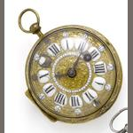 I.F.Larce a Paris. A late 17th century gilt metal Oignon pocket watch Circa 1685