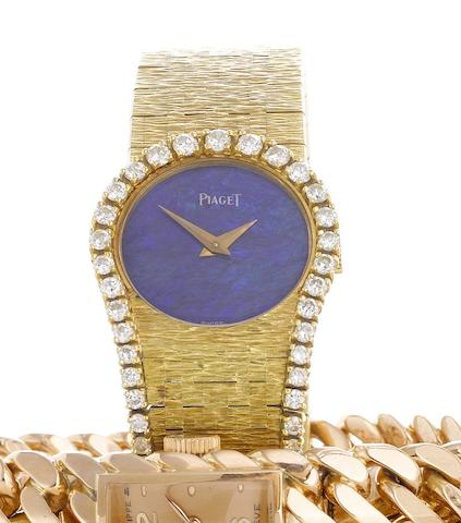 Piaget. A fine and unusual lady's 18ct gold and diamond set bracelet watch with lapis-lazuli dial Movement No:8104169, Made in 1981