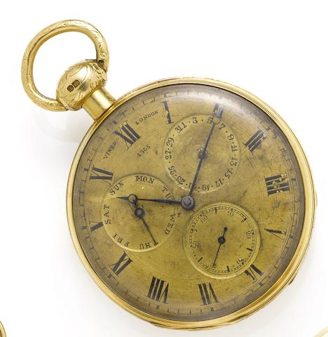 Viner. An interesting and rare early 19th century 18ct gold open face repeating calendar pocket watch