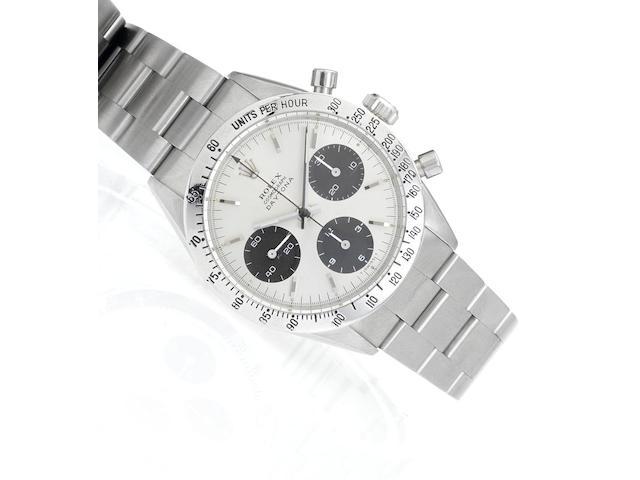Rolex. A fine stainless steel manual wind chronograph bracelet watchDaytona Cosmograph, Ref:6239, Case No.1428654, circa 1966