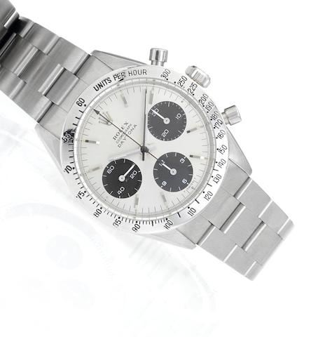 Rolex. A fine stainless steel manual wind chronograph bracelet watchDaytona Cosmograph, Ref:6239, Case No.1428654, circa 1966