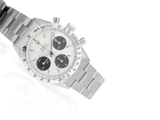 Rolex. A fine stainless steel manual wind chronograph bracelet watch Daytona Cosmograph, Ref:6239, Case No.1428654, circa 1966