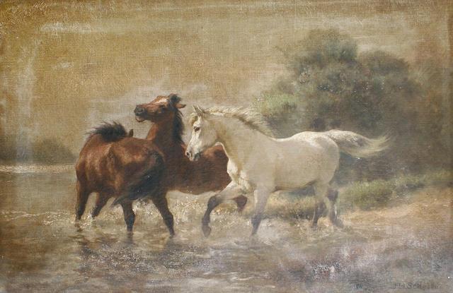Jan Hendrik Scheltema (Australian, 1861-1938) Horses bolting