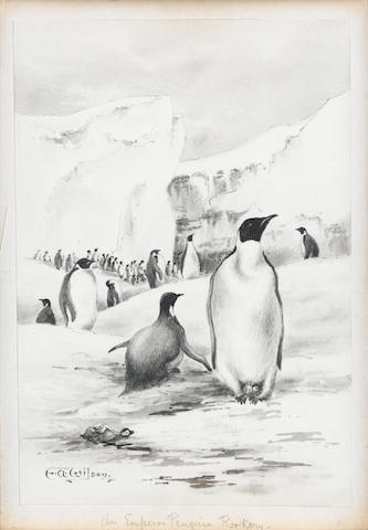 Dr Edward Adrian Wilson (British, 1872-1912) The Emperor Penguin Rookery, p&i