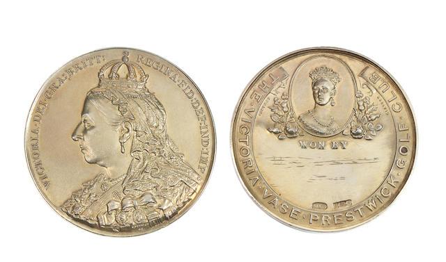A gilt Prestwick Golf Club Victoria Vase medal circa 1911