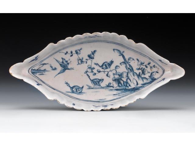 An important Lowestoft spoon tray, circa 1757-60