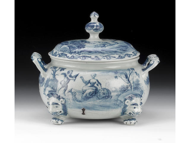 A Limehouse large punch tureen and cover, maidens, putti and dolphins in European landscapes, grapes inside, broken and riveted, rim chip