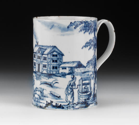 An Isleworth cylindrical large mug, European farming scene and inscribed ICA 1779, chipped and cracked