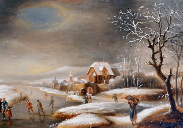 Dutch School, 18th century Winter skating scene
