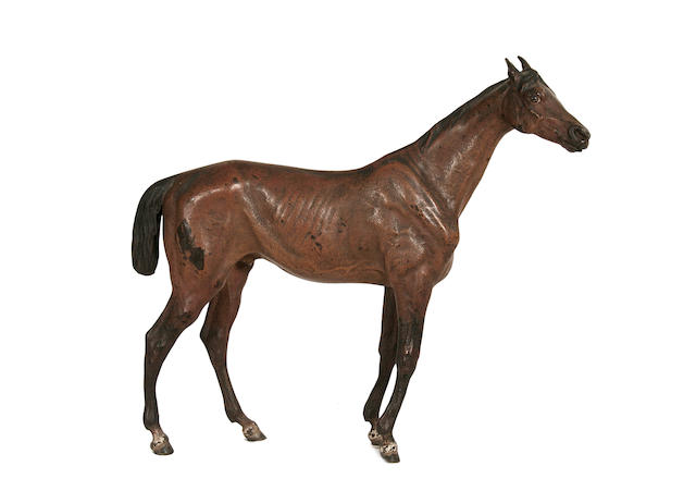 Franz Bergman (Austrian, 1861-1936): A cold painted bronze model of a horse