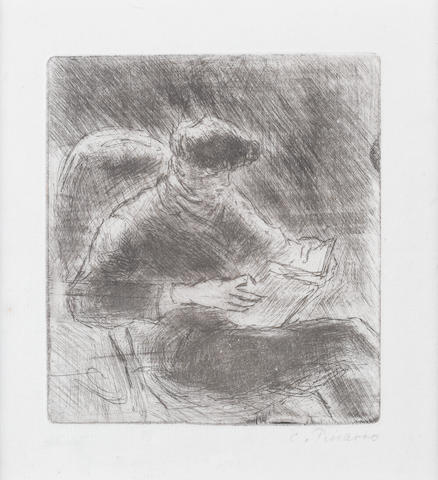 Camille Pissarro (French, 1830-1903) Jeune homme lisant (Georges Pissarro) Etching with drypoint, 1898, on laid Van Gelder, the edition was 8, with margins, 134 x 120mm (5 1/4 x 4 3/4in)(PL)(unframed)