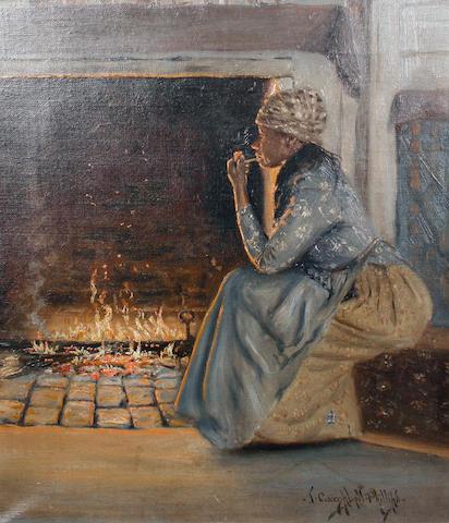 J. (John) Campbell Phillips (American, 1873-1949) By the fireside