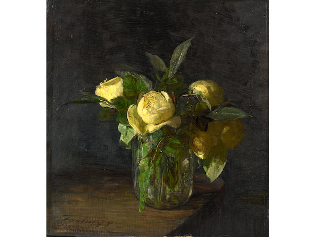 Henri Fantin-Latour (French, 1836-1904) Peonies in a glass vase
