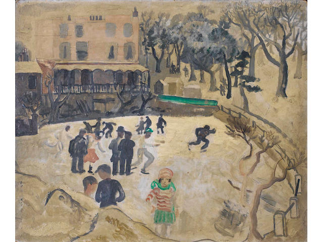 Christopher Wood (British, 1901-1930) Skaters at Hampstead 46 x 55 cm. (18 x 22 in.)