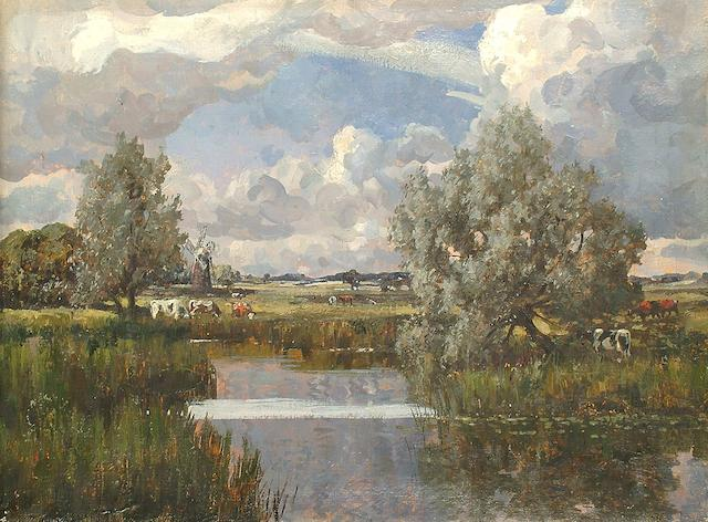 Campbell Archibald Mellon (British, 1876-1955) River landscape with windmill beyond unframed