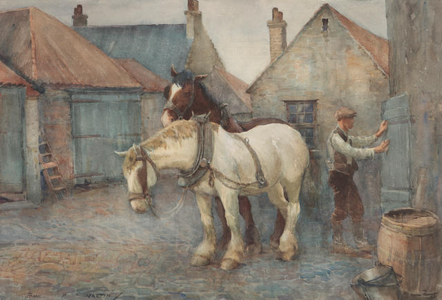 Franc P. Martin (British, 1883-1966) At the stables