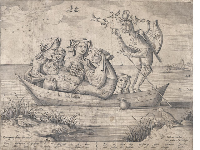 After Hieronymous Bosch Die Blau Schuyte (Ship of Depravity) Engraving, 1559, by Hieronymous Cock, first state of two, on laid, with the Pave monogram, 228 x 290mm (9 x 11 1/3in)(PL)  unframed