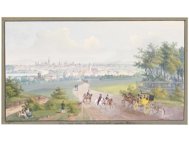 Balthasar Wigand (Austrian, 1771-1846) 'Der weg von Heiliganstadt nach Wien' (image size)