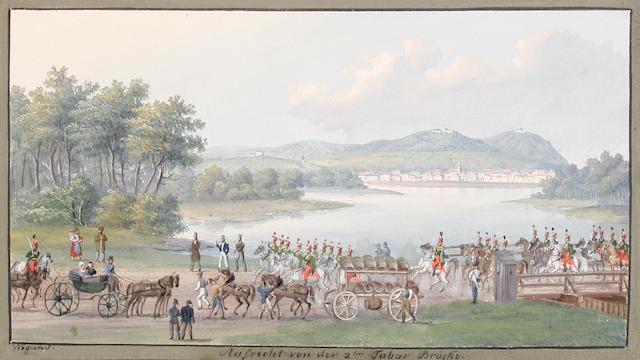 Balthasar Wigand (Austrian, 1771-1846) 'Aufsicht von der 2 ton Tabor Brüche' (image size)