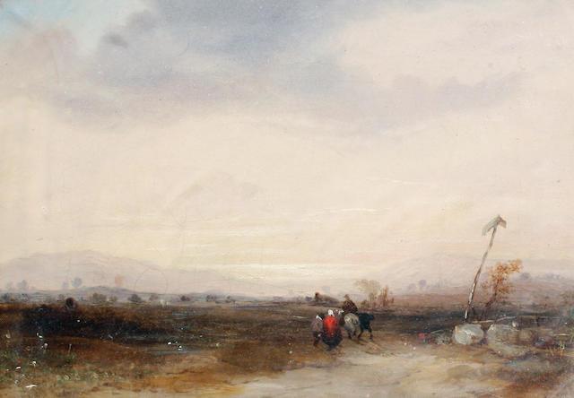 Circle of Richard Parkes Bonington (British, 1801-1828) Travellers on an open plain