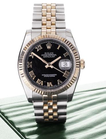 Rolex. A fine stainless steel and rose gold automatic bracelet watchDatejust, Serial No: D116647, Movement number 30761198, Sold 25th February 2006