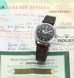 Rolex. A fine and rare stainless steel centre seconds automatic wristwatch with original chronometer certificate, guarantee booklet and bill of saleExplorer, Ref:1006, Made in February 1962, Sold 28th December 1964