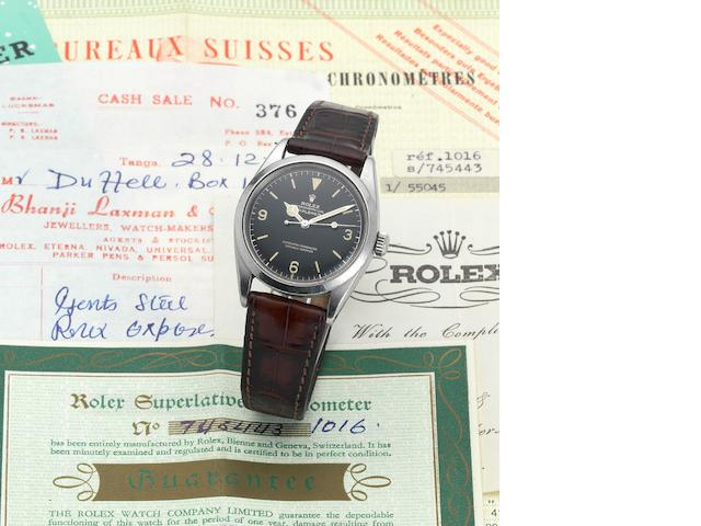 Rolex. A fine and rare stainless steel centre seconds automatic wristwatch with original chronometer certificate, guarantee booklet and bill of sale Explorer, Ref:1006, Made in February 1962, Sold 28th December 1964