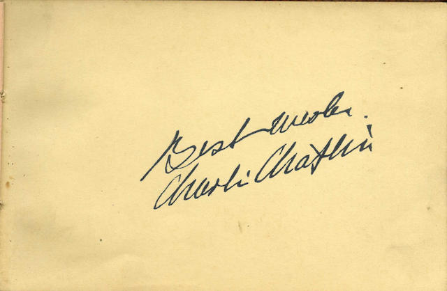 A Charlie Chaplin signed autograph book,