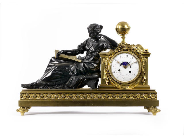 A French late 19th/early 20th century gilt and patinated bronze mantel clockthe dial possibly 18th century