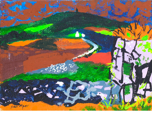 John Piper C.H. (British, 1903-1992) View with Stone Walls - South Wales 33 x 24 cm. (9 1/2 x 13 in.)