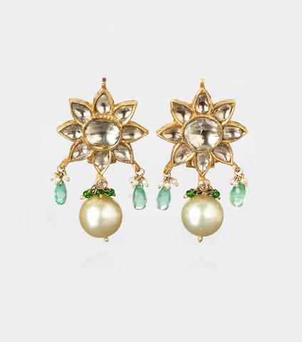 A pair of diamond-set gold Earrings India, 20th Century (2)