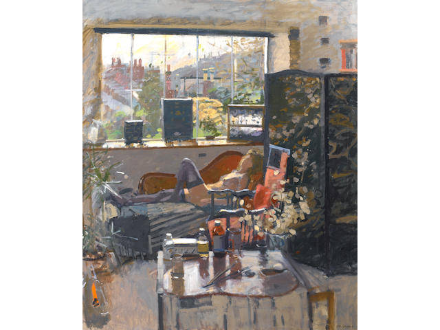 Ken Howard R.A. (British, born 1932) Valerie - Winter Interior, Mousehole 122 x 101.5 cm. (48 x 40 in.)
