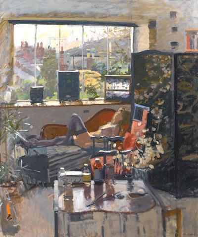 Ken Howard R.A. (British, born 1932) Valerie - Winter Interior, Mousehole 122 x 101.5 cm. (48 x 40 in.)