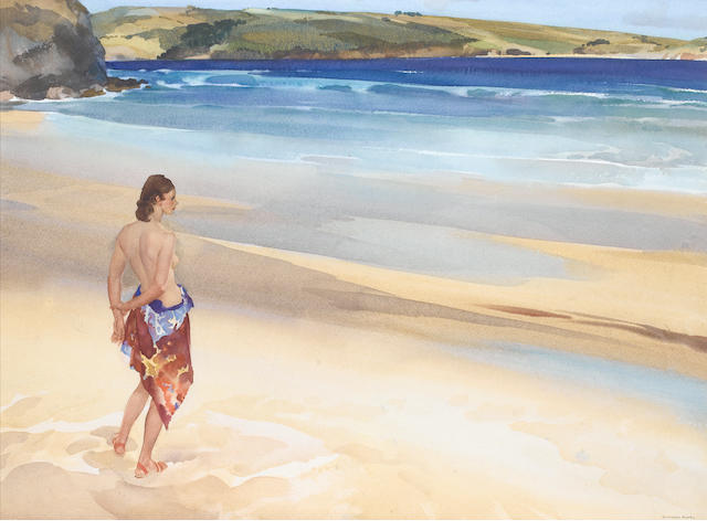 Sir William Russell Flint (Scottish, 1880-1969) Rebecca in Cornwall 65 x 84 cm. (25 1/2 x 33 in.)