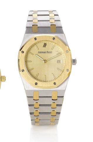 Audemars Piguet. A stainless steel and gold quartz calendar bracelet watchRoyal Oak. 1990's