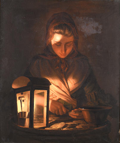 Henry Robert Morland (circa 1716-1797 London) A young woman shucking oysters by lamplight