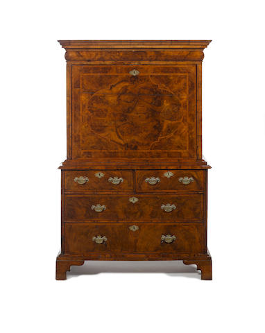 A Queen Anne burr walnut, crossbanded and featherbanded escritoire