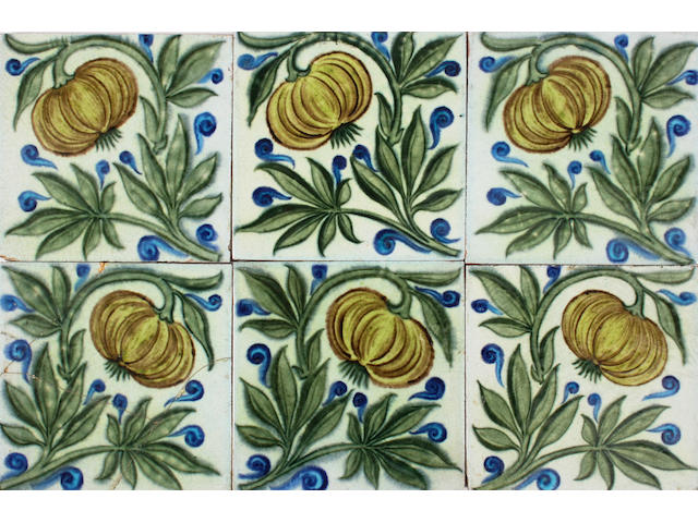 Six William De Morgan tiles Circa 1888-1897.