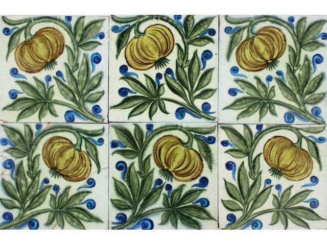 Six William De Morgan tiles Circa 1888-1897.